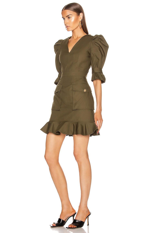 Image 3 of Alexander McQueen Mini Ruffle Dress in Khaki Green