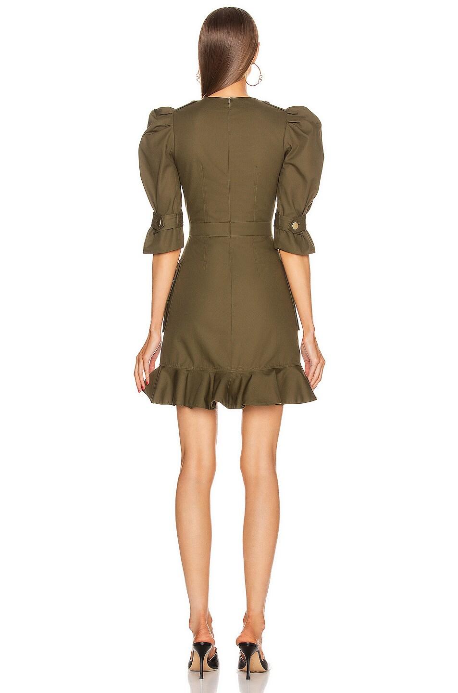Image 4 of Alexander McQueen Mini Ruffle Dress in Khaki Green