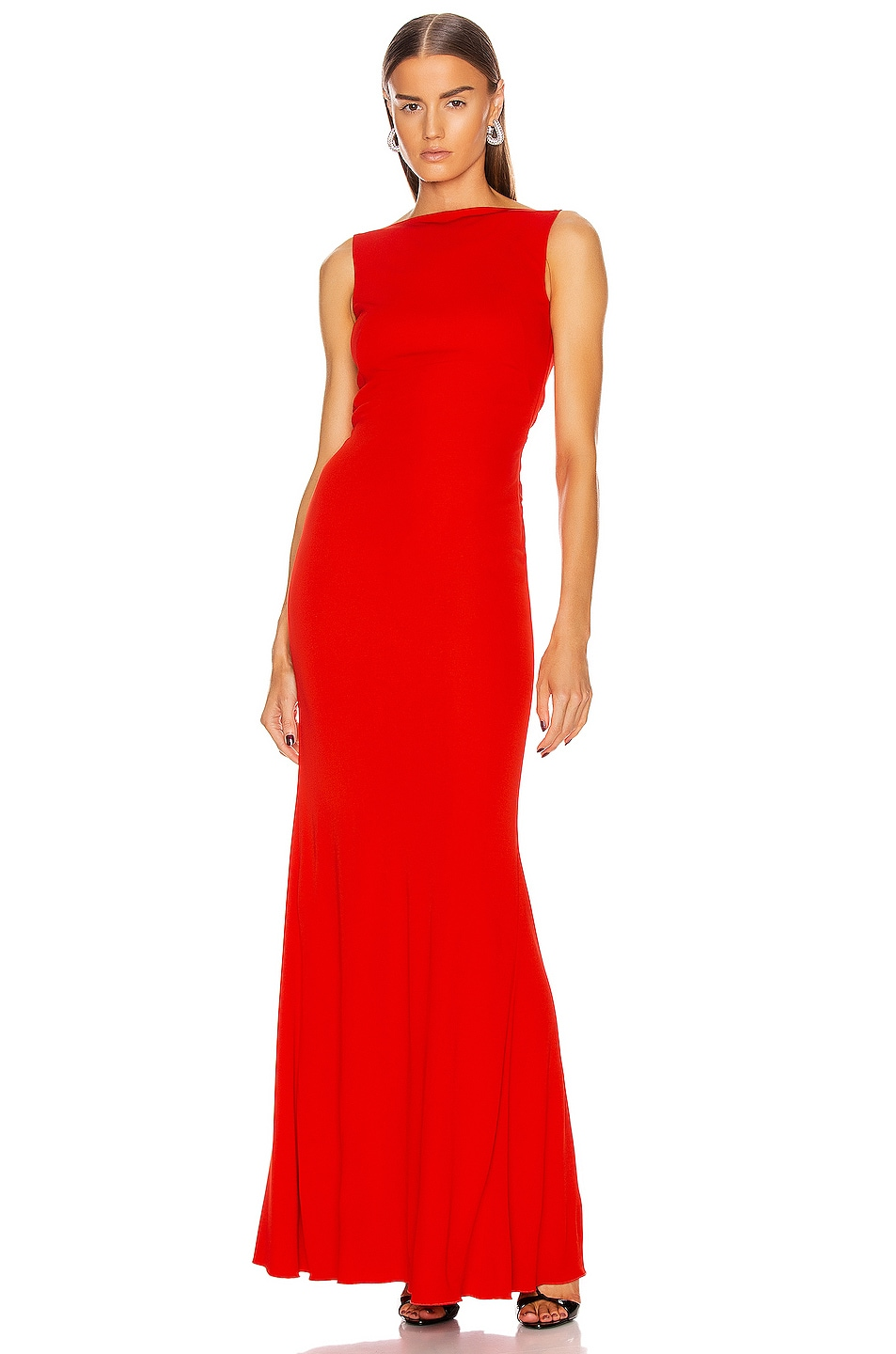Image 1 of Alexander McQueen Long Jersey Dress in Lust Red