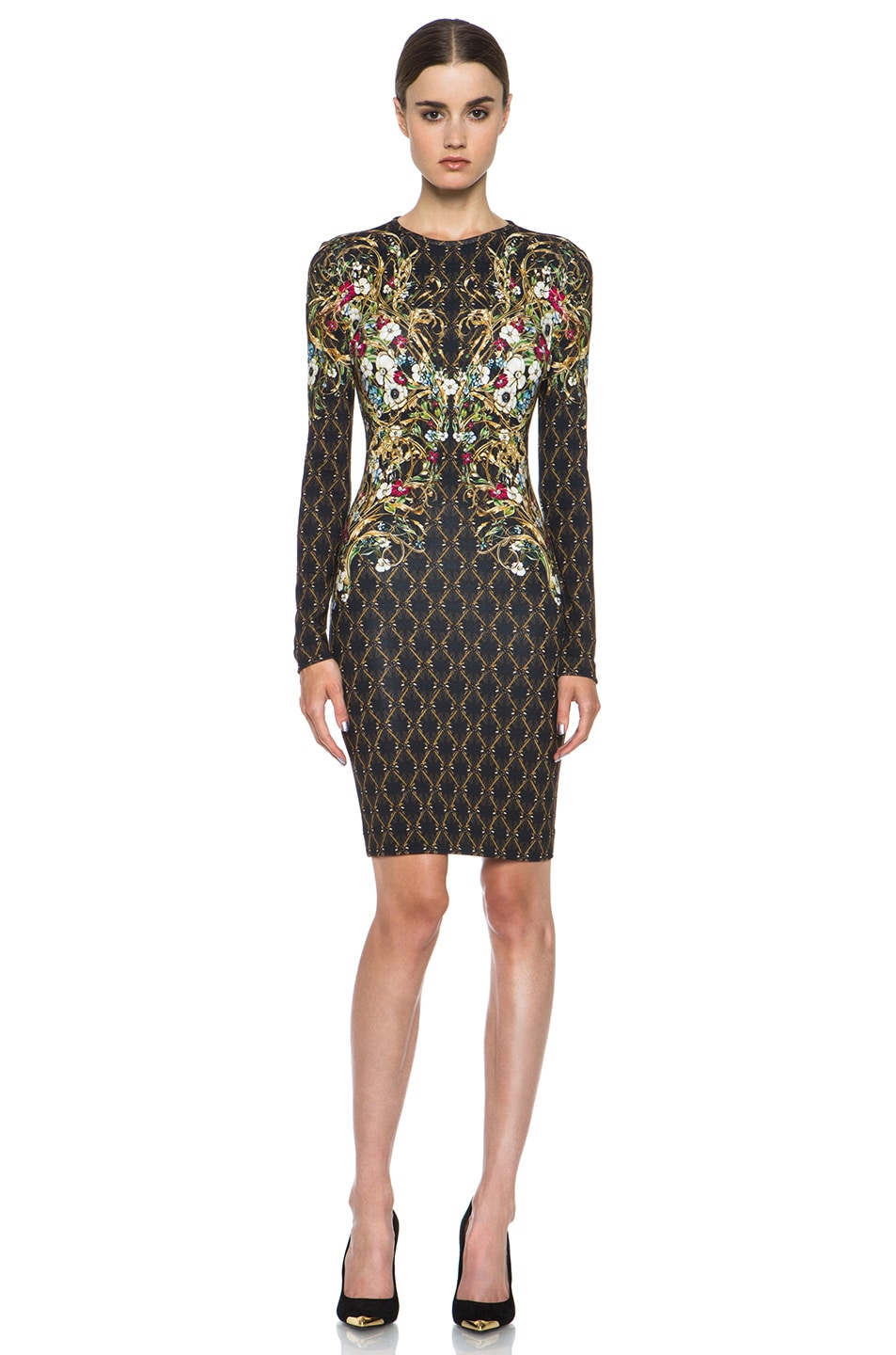 Black and gold print dress
