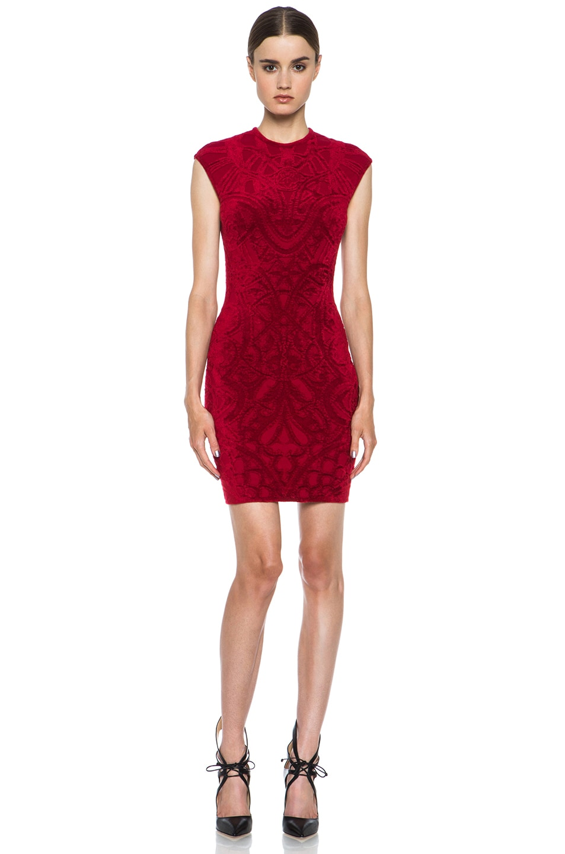 Image 1 of Alexander McQueen Rose Window Wool-Blend Dress in Ruby