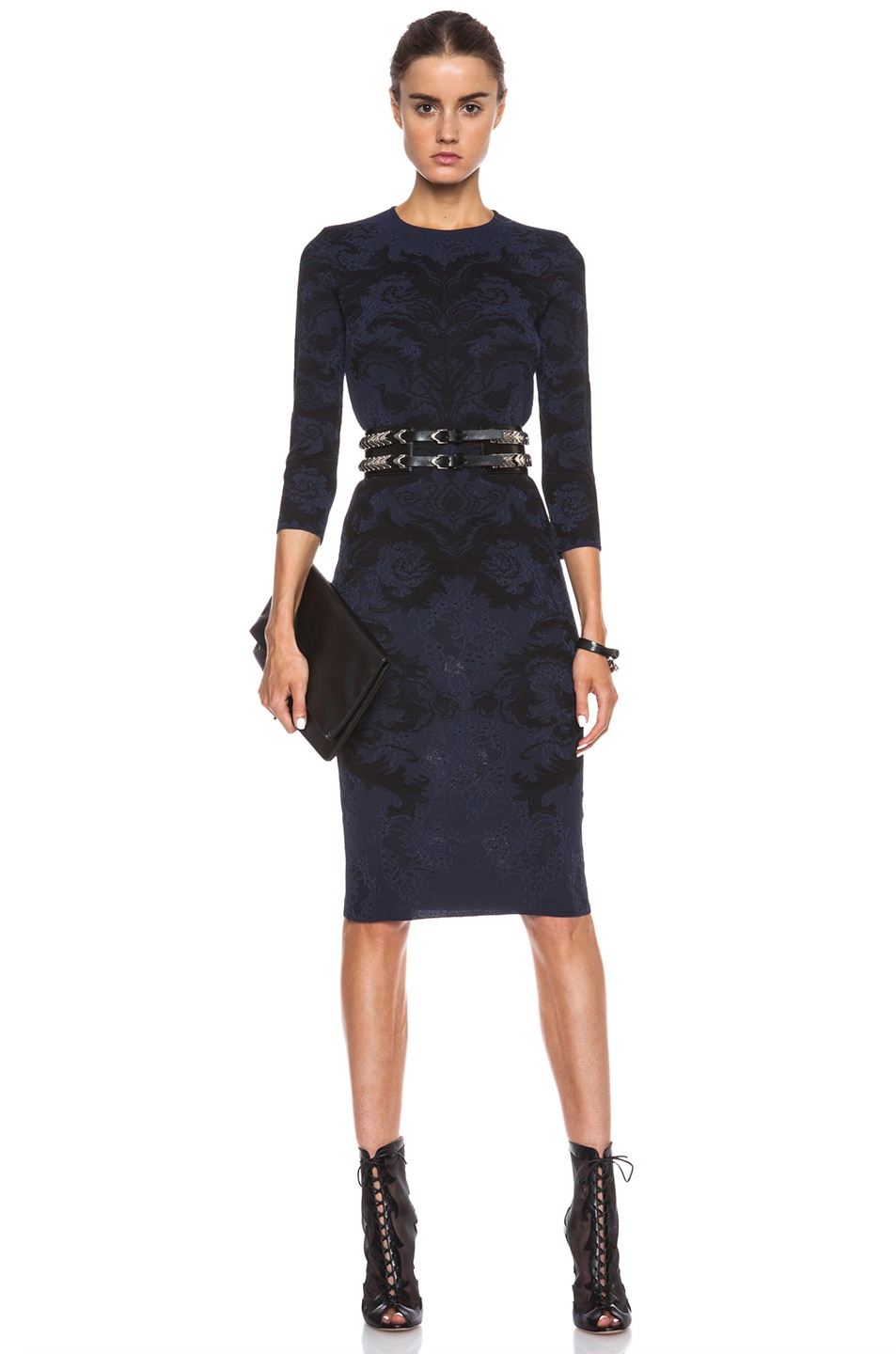 Image 1 of Alexander McQueen Baroque Spine Lace Dress in Navy & Black