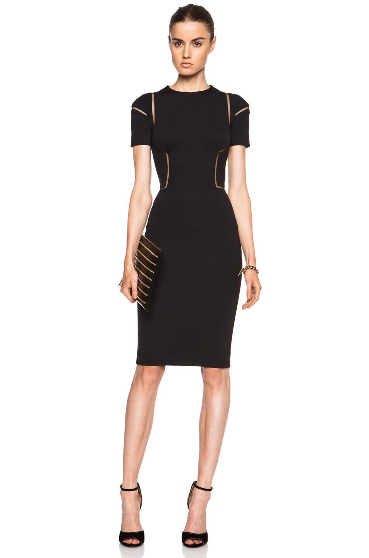 Image 1 of Alexander McQueen Cut Out Polyamide-Blend Scuba Dress in Black