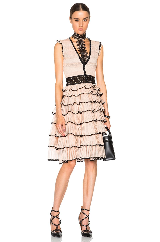 Image 1 of Alexander McQueen V Neck Sleeveless Dress in Black & Teint