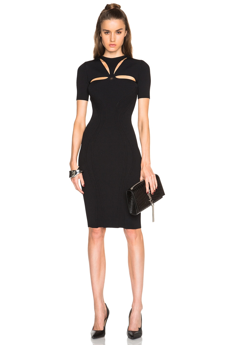 dffc63b136 Image 1 of Alexander McQueen Cut Out Neck Pencil Dress in Black