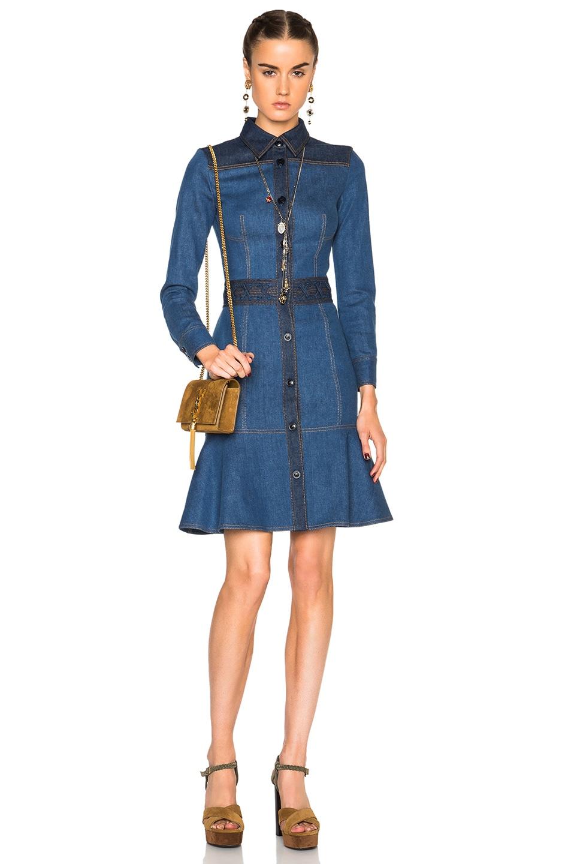 Image 1 of Alexander McQueen Fitted Denim Dress in Light & Dark Blue
