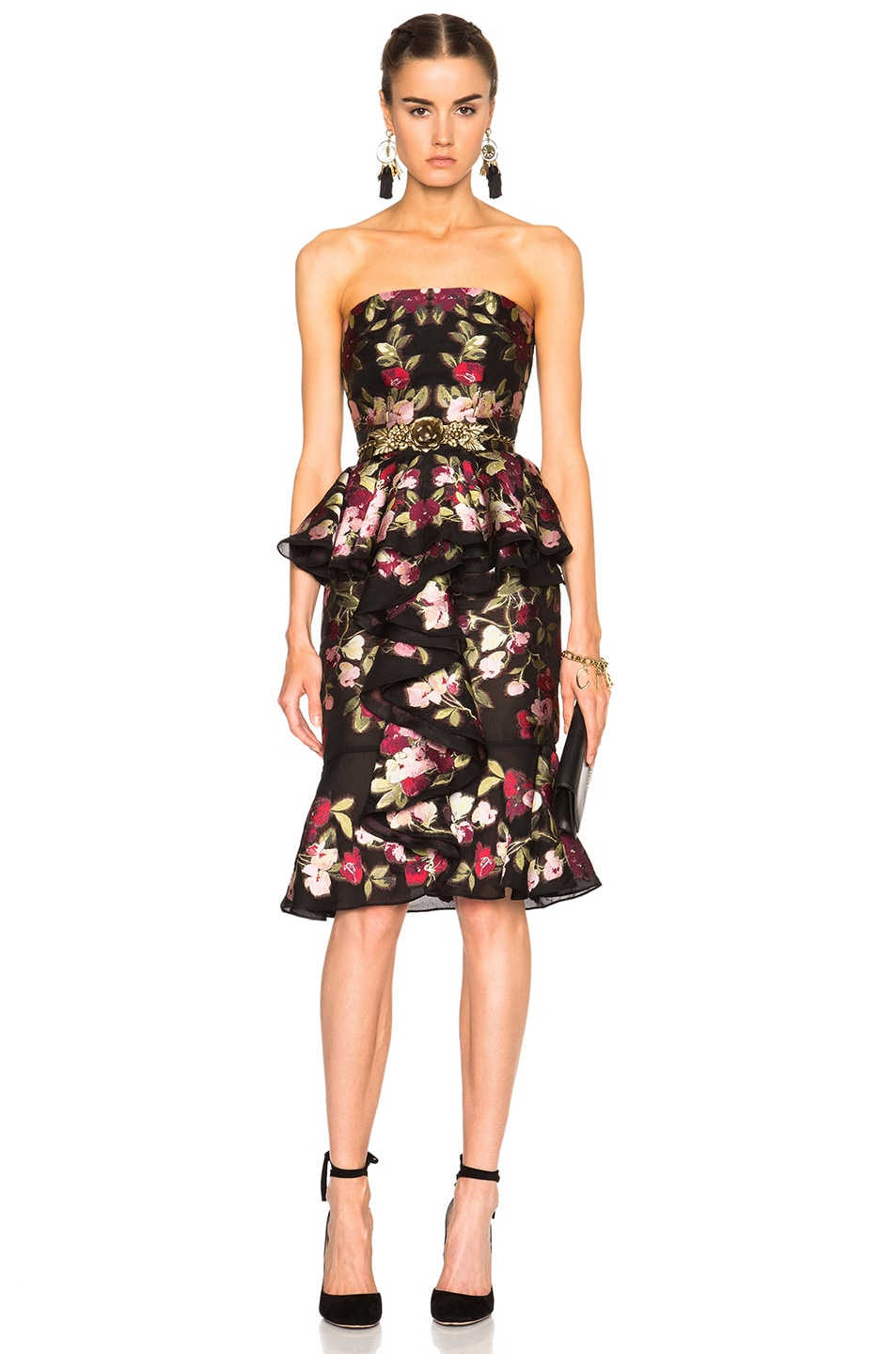 Image 1 of Alexander McQueen Strapless Dress in Black & Red