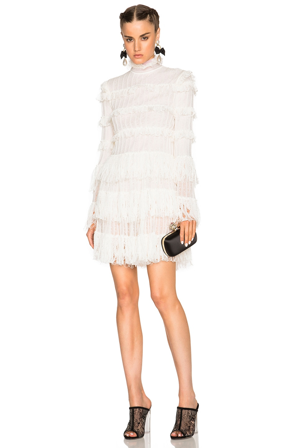 Image 1 of Alexander McQueen A Line Ruffle Mini Dress in Ivory