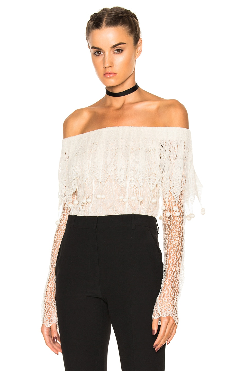 Image 1 of Alexander McQueen Off the Shoulder Lace Sweater in Ivory & Flesh