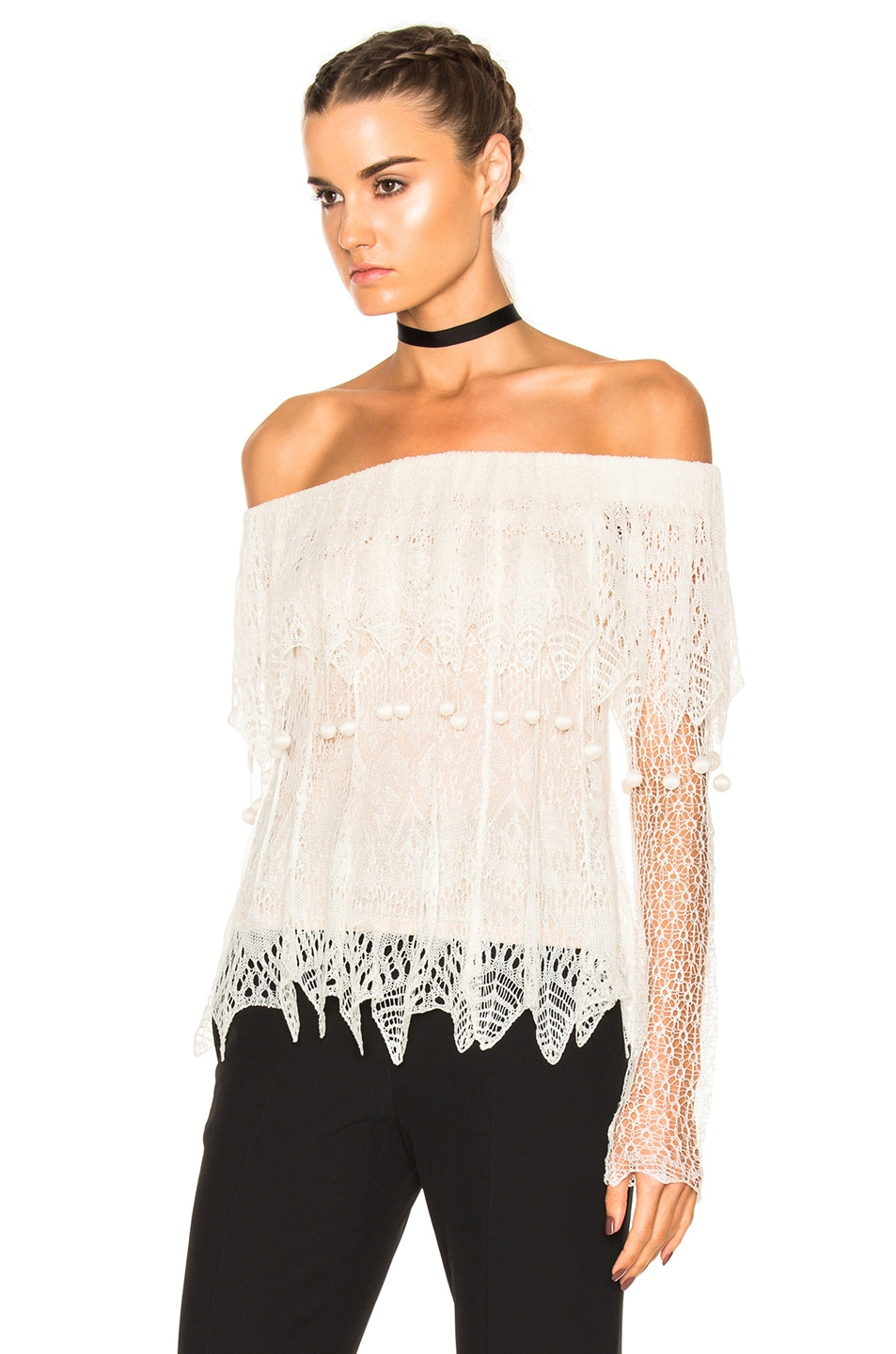 Image 2 of Alexander McQueen Off the Shoulder Lace Sweater in Ivory & Flesh