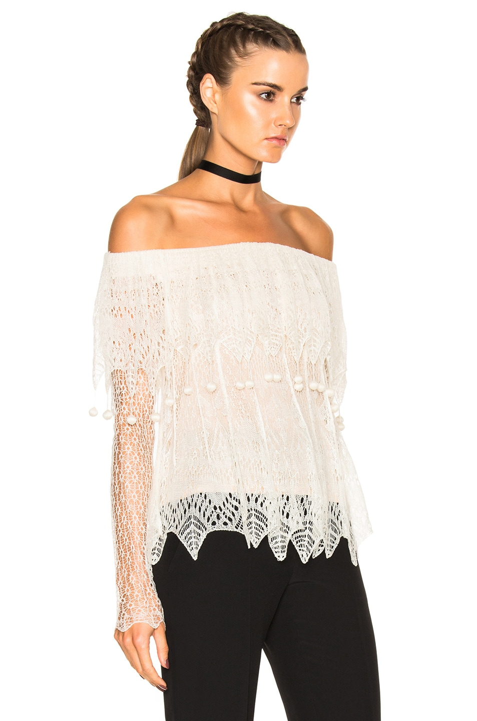 Image 3 of Alexander McQueen Off the Shoulder Lace Sweater in Ivory & Flesh