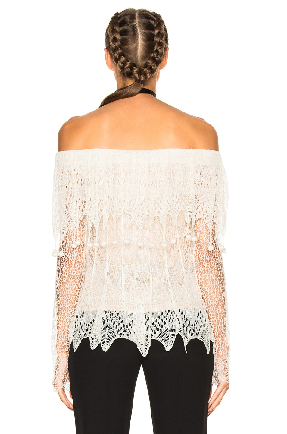 Image 4 of Alexander McQueen Off the Shoulder Lace Sweater in Ivory & Flesh