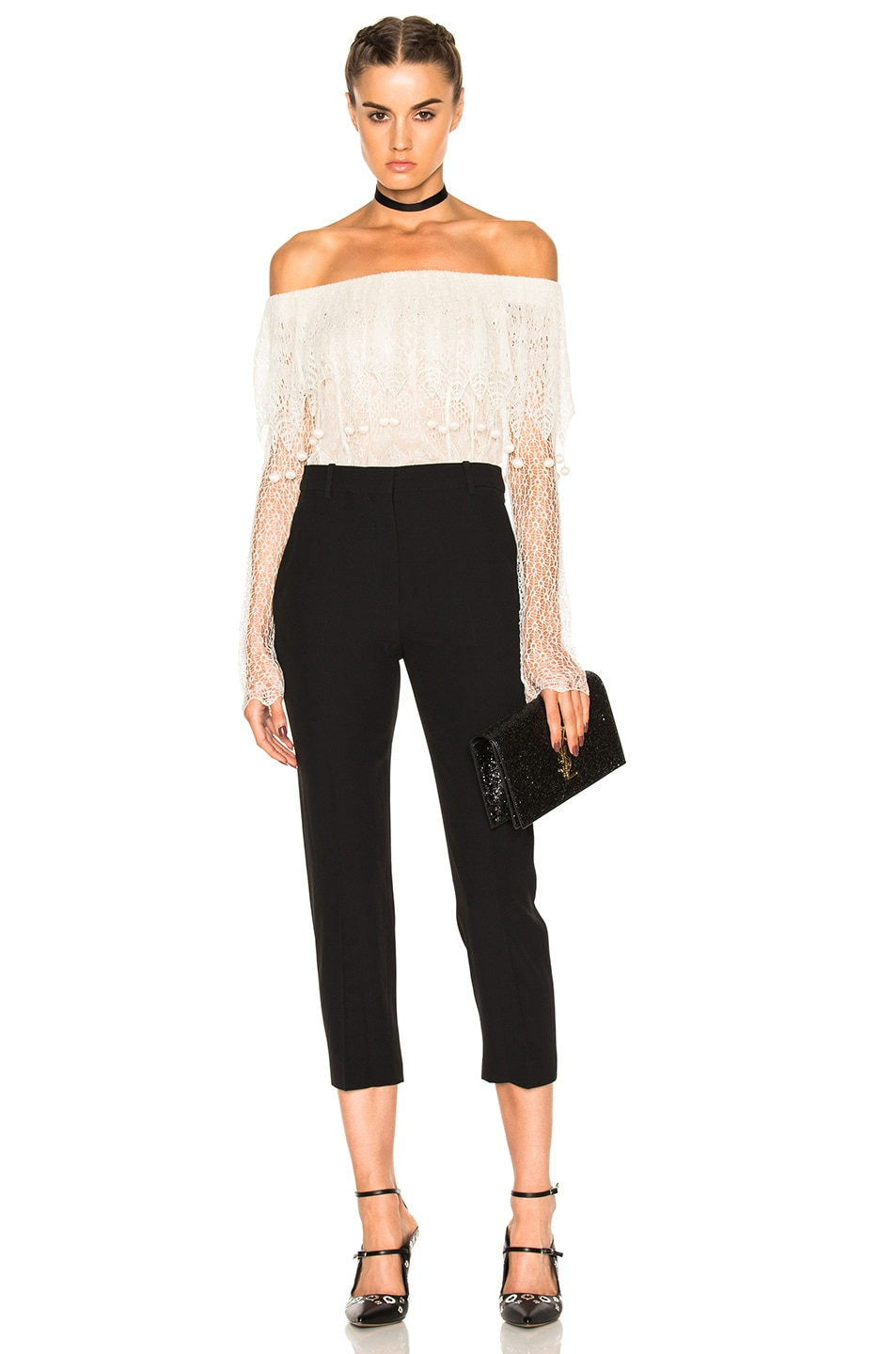 Image 5 of Alexander McQueen Off the Shoulder Lace Sweater in Ivory & Flesh