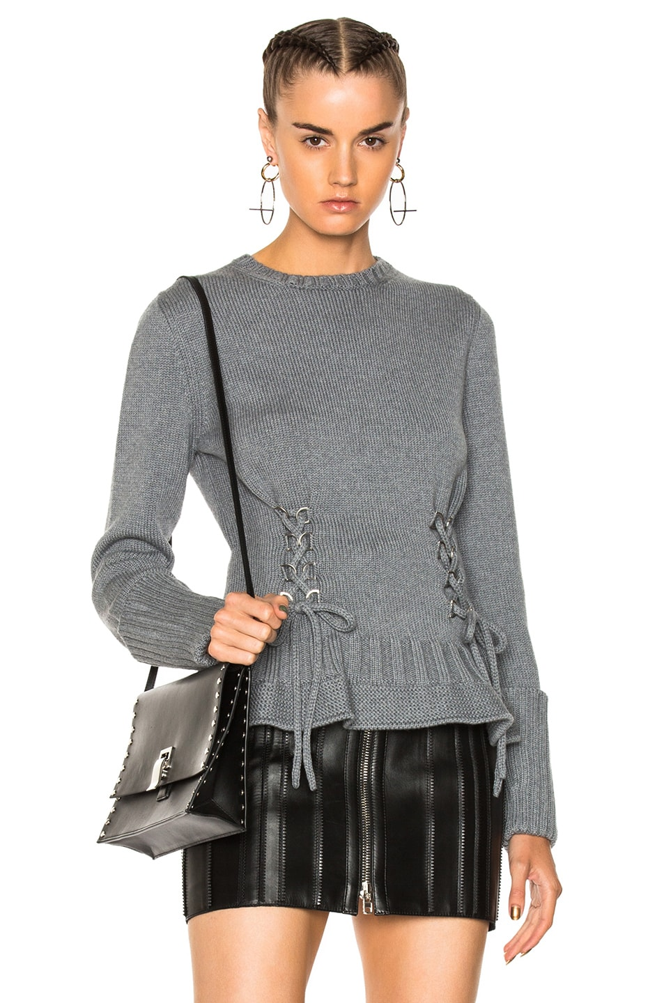 Image 1 of Alexander McQueen Lace Up Chunky Knit Sweater in Dark Grey Melange