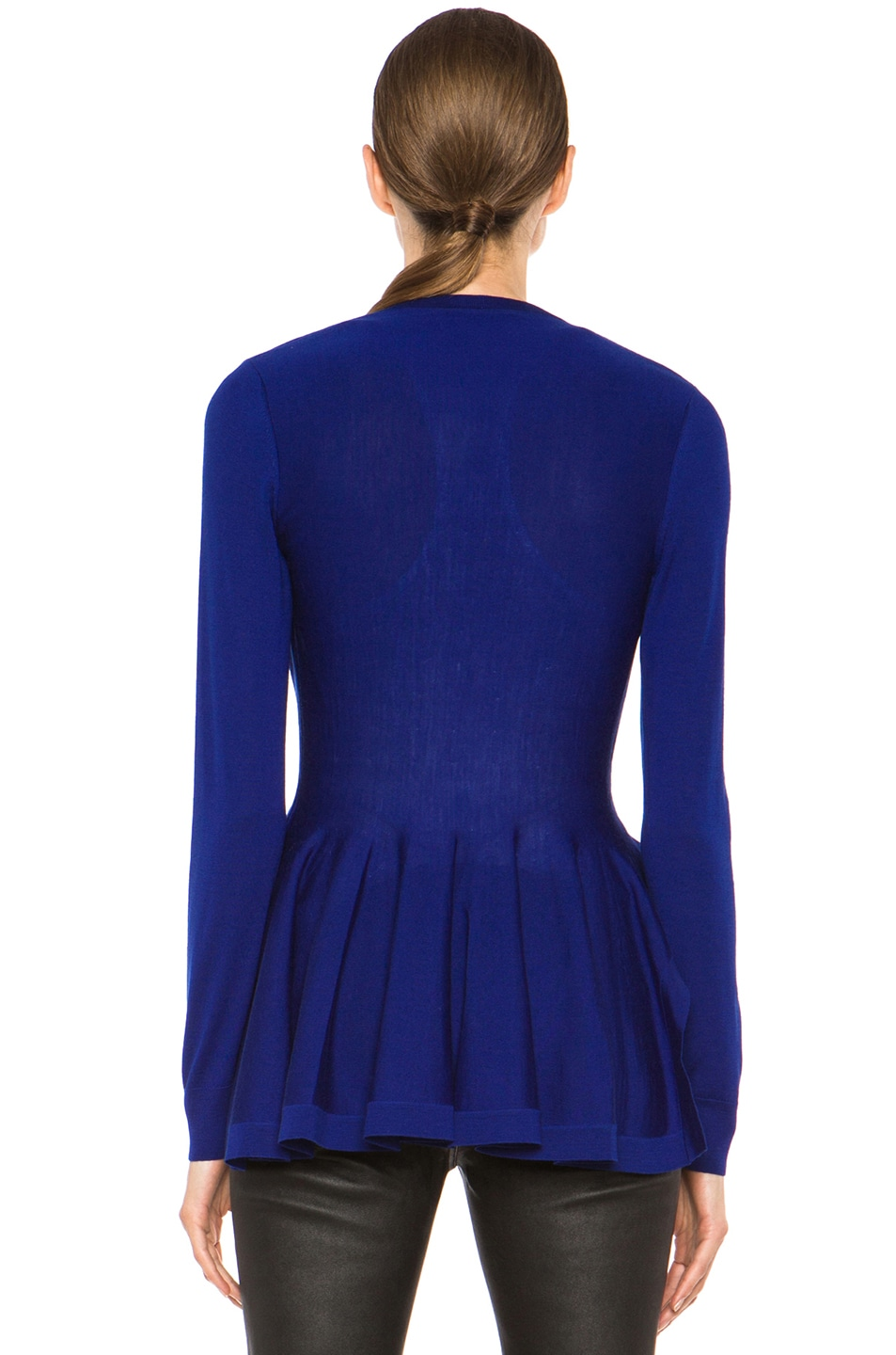 Alexander McQueen Peplum Sweater Cardigan in Royal Blue | FWRD