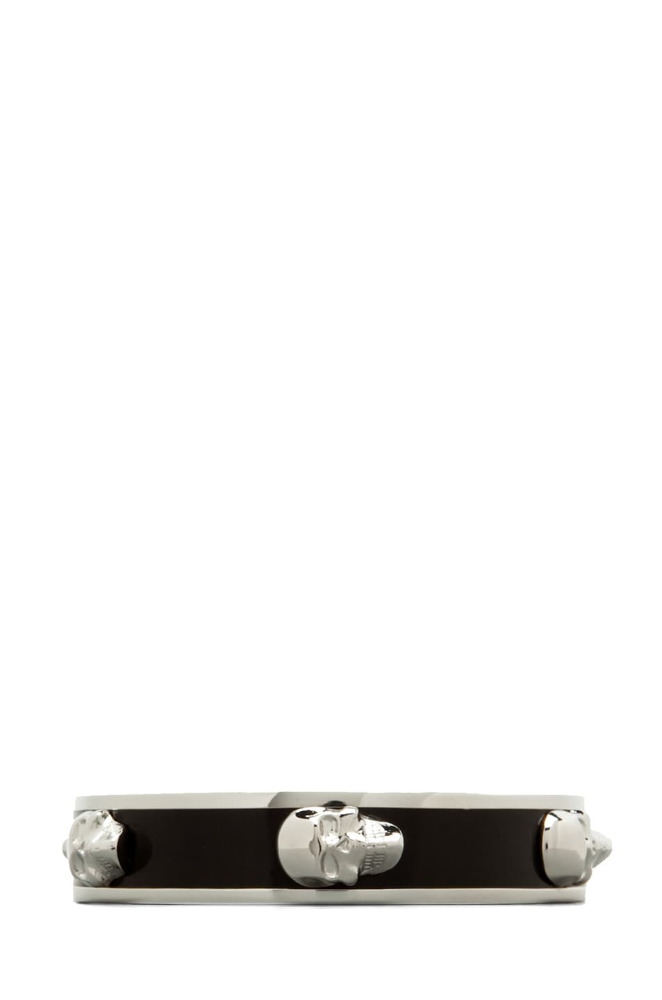 Image 1 of Alexander McQueen 3D Enamel Skull Bangle in Black