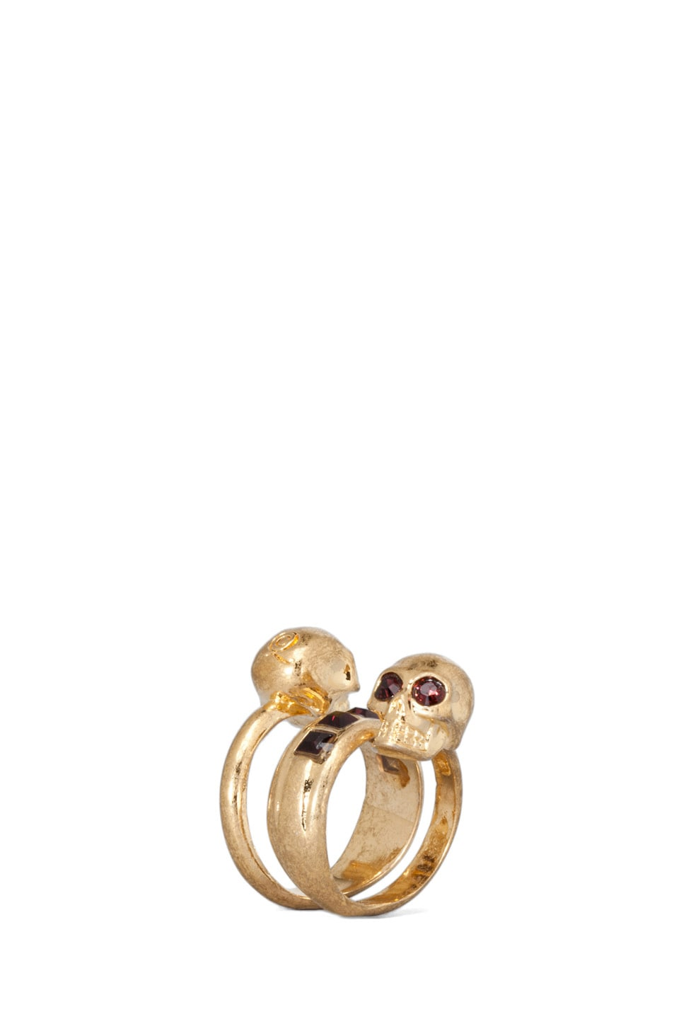 Image 1 of Alexander McQueen Twin Skull Brass Ring in Old Gold & Burgundy