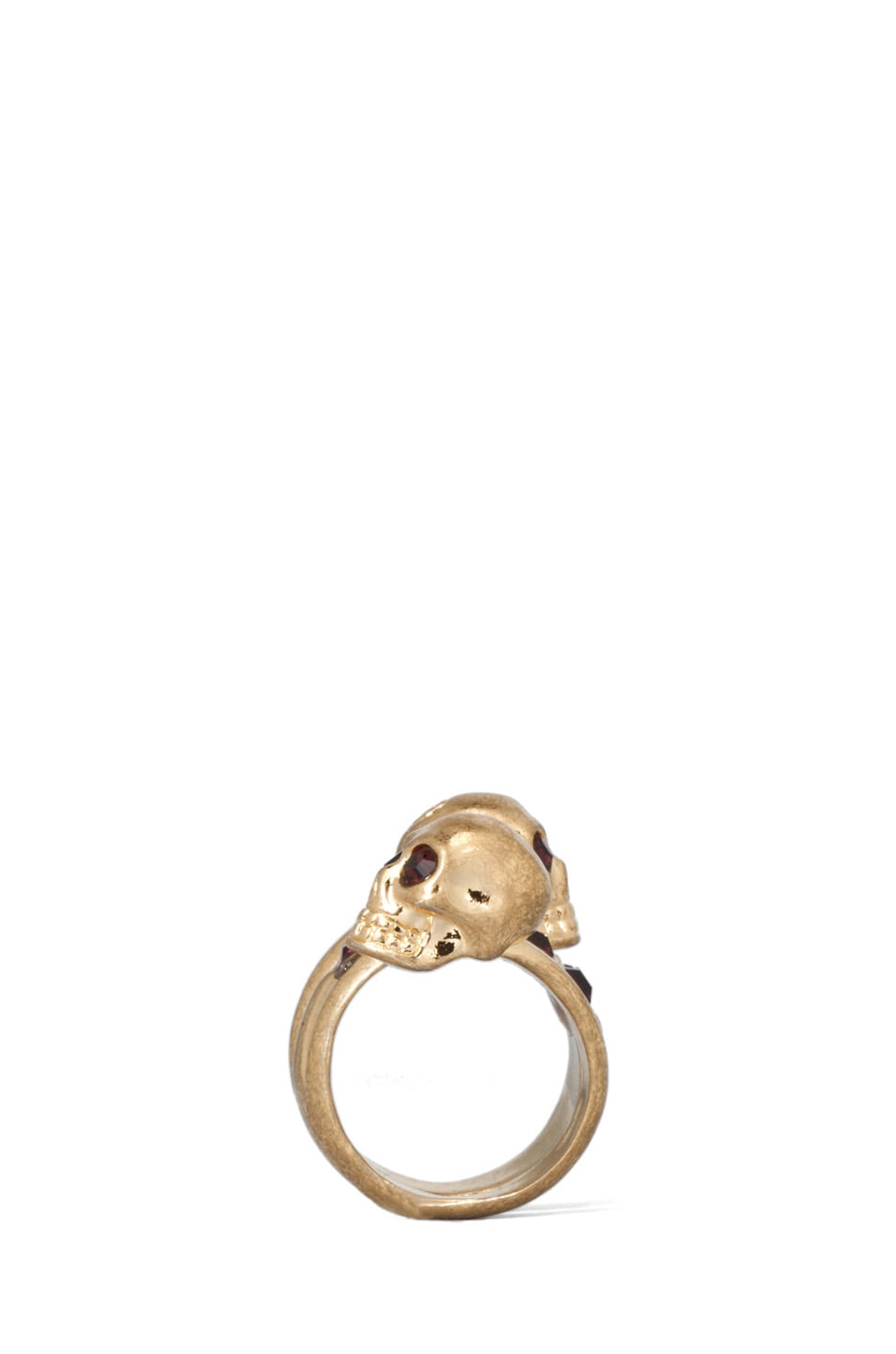 Image 2 of Alexander McQueen Twin Skull Brass Ring in Old Gold & Burgundy