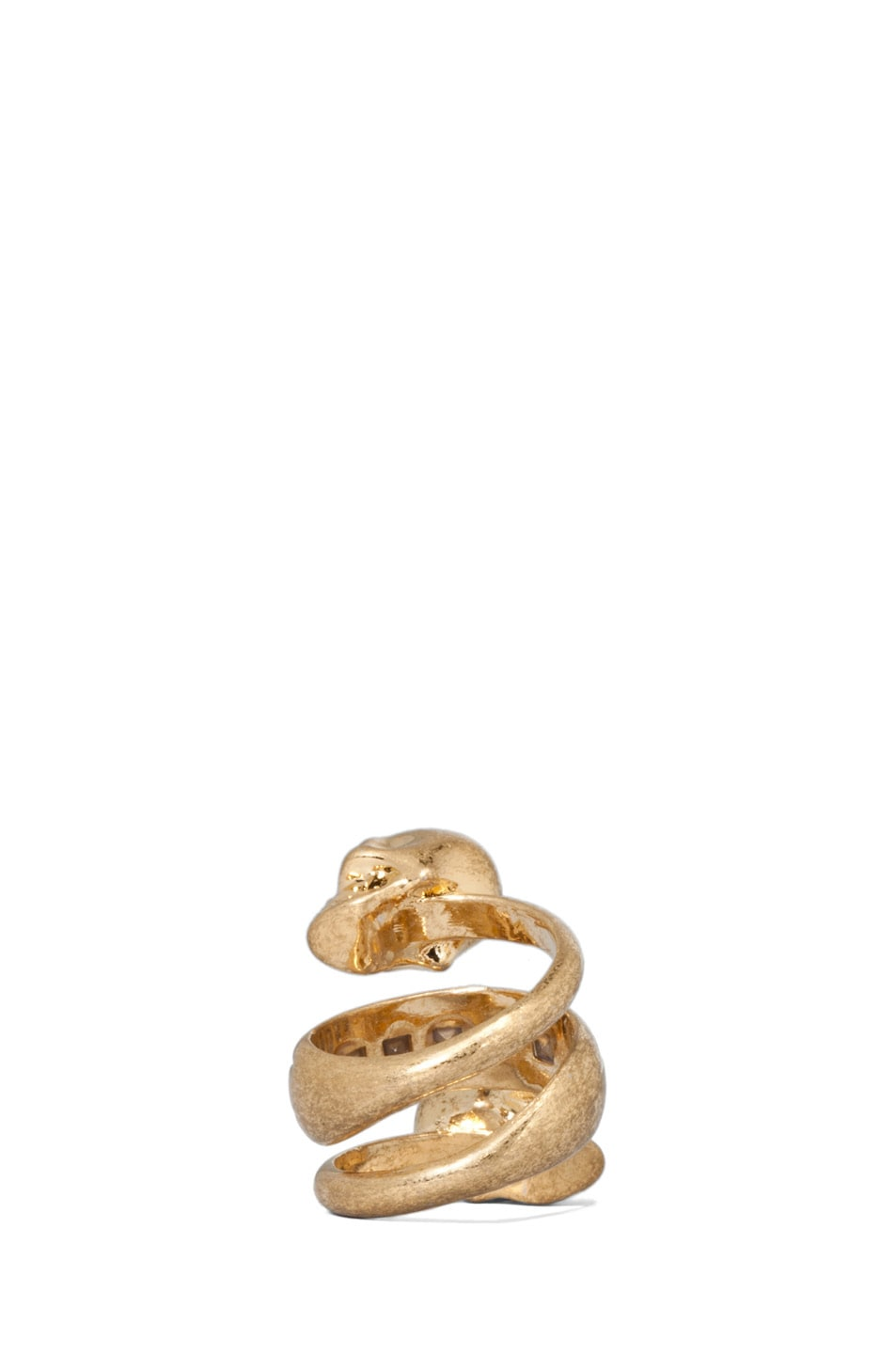 Image 4 of Alexander McQueen Twin Skull Brass Ring in Old Gold & Burgundy