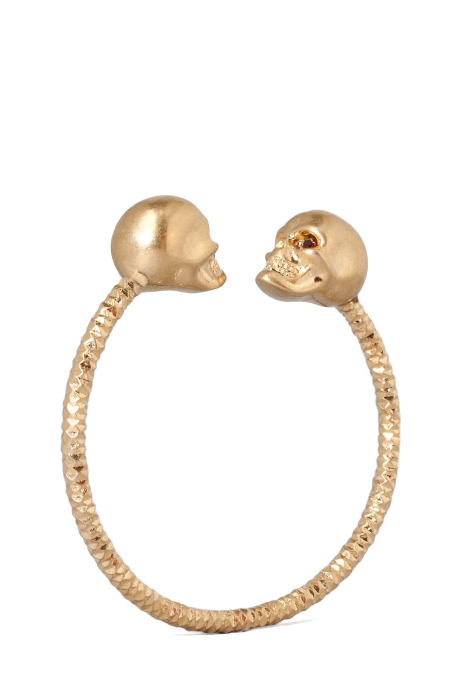 Image 1 Of Alexander Mcqueen Twin Skull Br Bracelet In Old Gold Burgundy