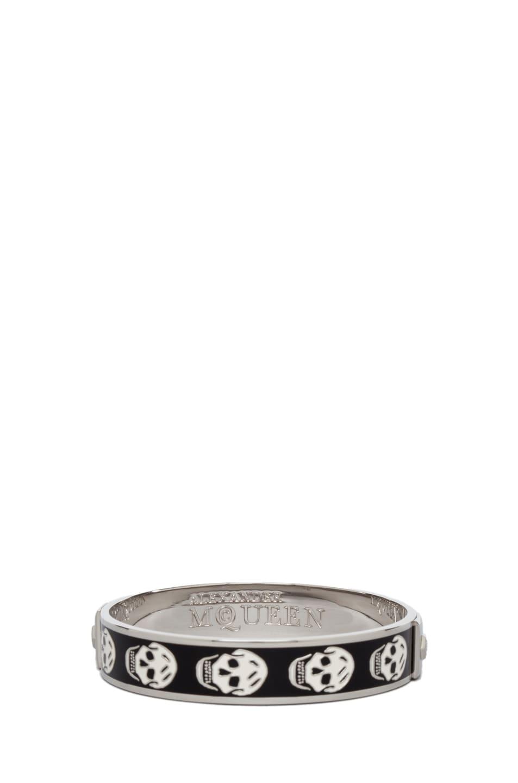Image 3 of Alexander McQueen Small Enamel Skull Cuff in Black