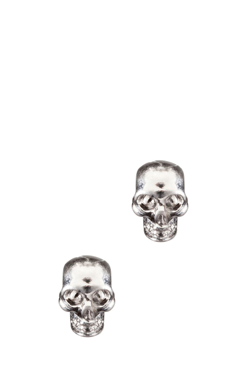 Image 1 of Alexander McQueen Skull Earrings in Dark Silver