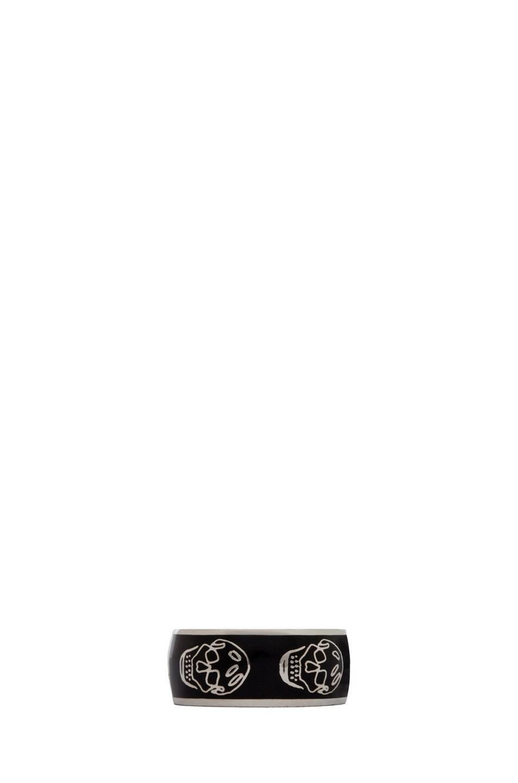 Image 1 of Alexander McQueen Enamel Ring in Black