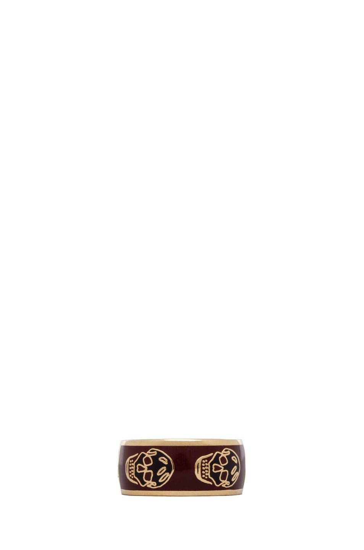 Image 1 of Alexander McQueen Enamel Ring in Oxblood & Aubergine