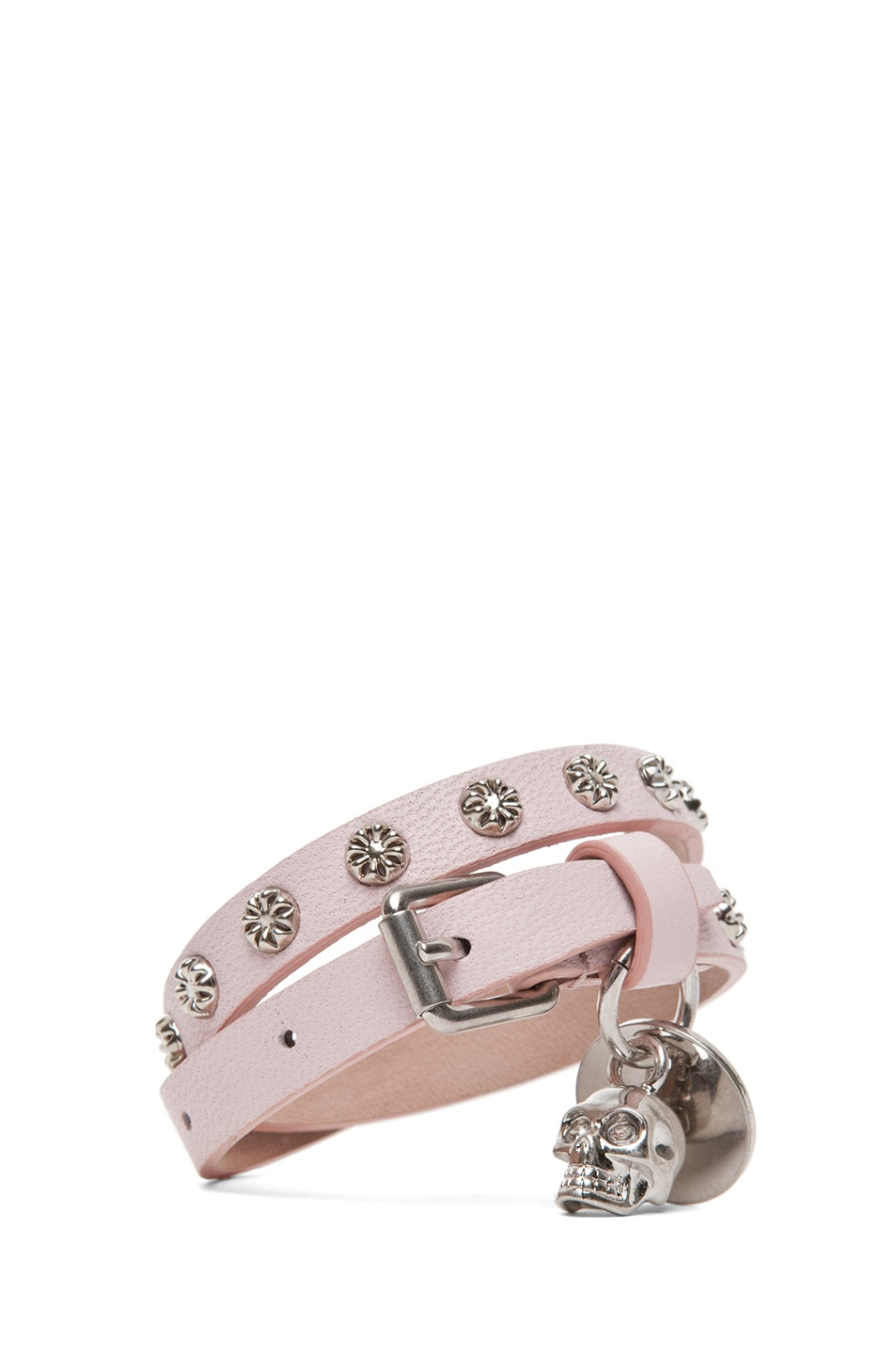 Image 1 of Alexander McQueen Double Wrap Skull Studded Bracelet in Ice Pink