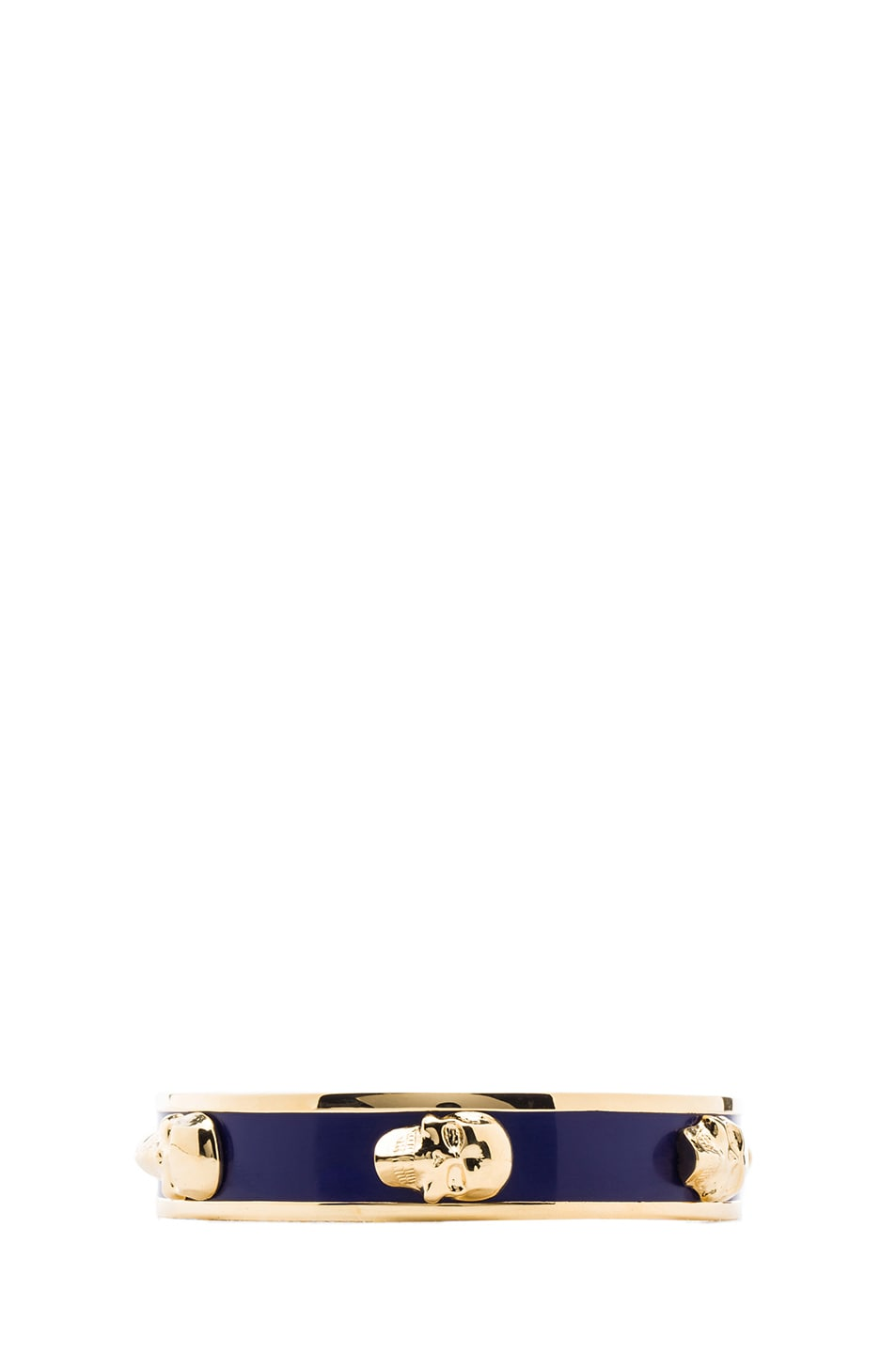 Image 1 of Alexander McQueen 3D Enamel Skull Bangle in Gold & Royal Blue