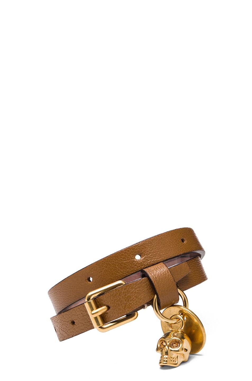 Image 1 of Alexander McQueen Double Wrap Calfskin Bracelet in Camel
