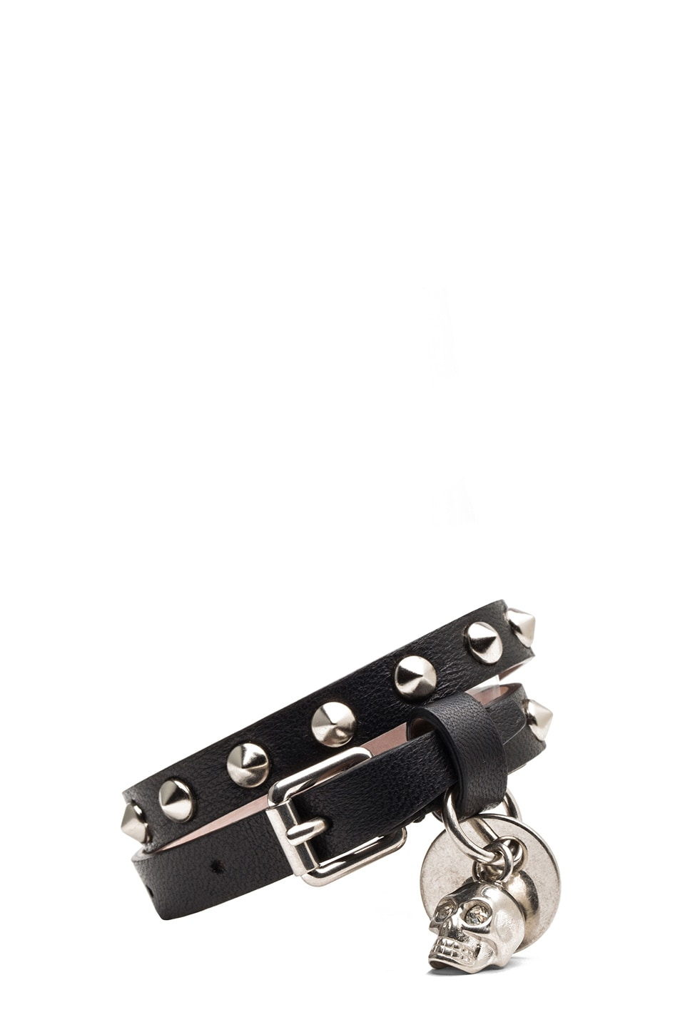 Image 1 of Alexander McQueen Double Wrap Calfskin Bracelet in Black
