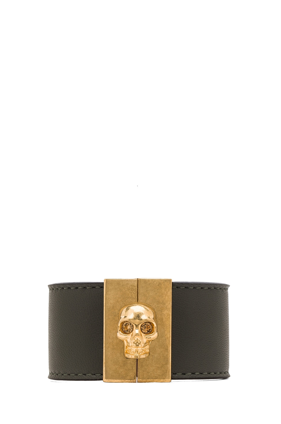 Image 1 of Alexander McQueen Skull Leather Cuff in Military