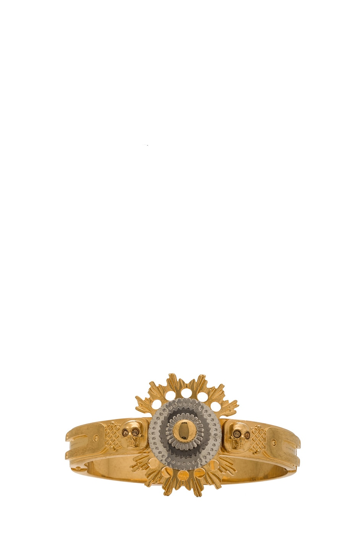 Image 1 of Alexander McQueen Flower Bracelet with Swarovski Crystals in Gold