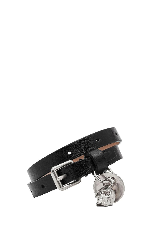 Image 1 of Alexander McQueen Double Wrap Leather Bracelet in Black