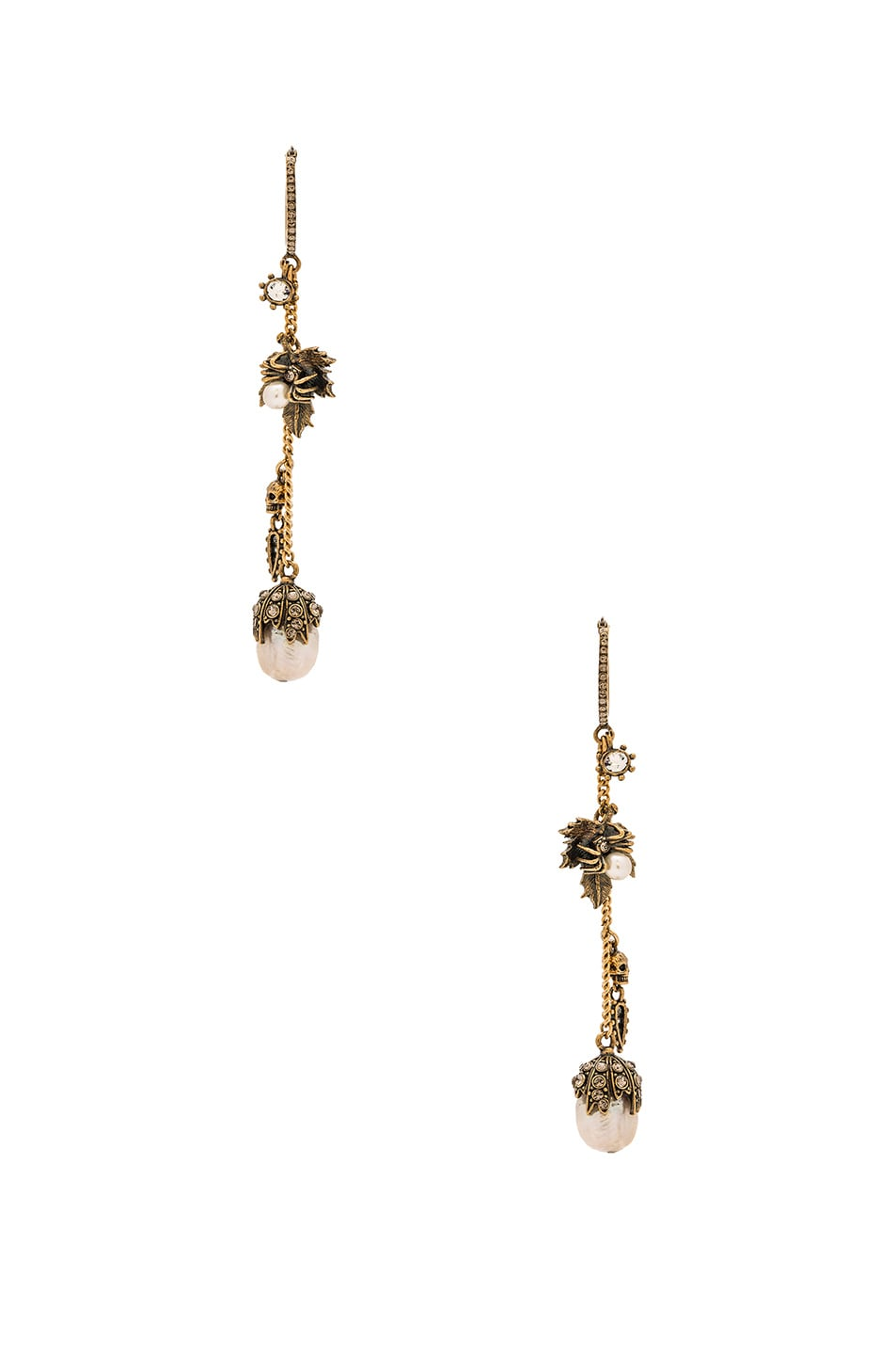 Image 1 of Alexander McQueen Leaf Charm Earrings in Gold