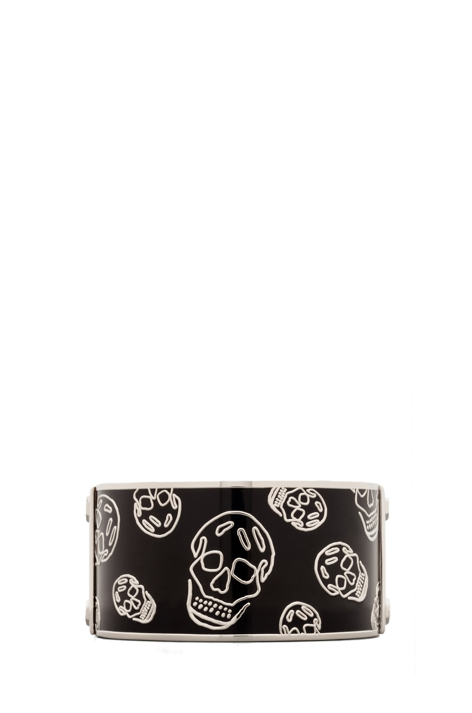 Image 1 of Alexander McQueen Large Enamel Skull Bangle in Black/Black
