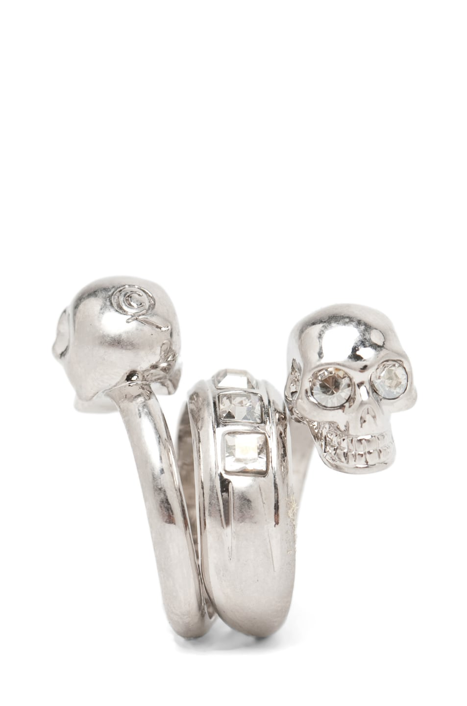 Image 2 of Alexander McQueen Skull Wrapping Twin Ring in Crystal & Silver