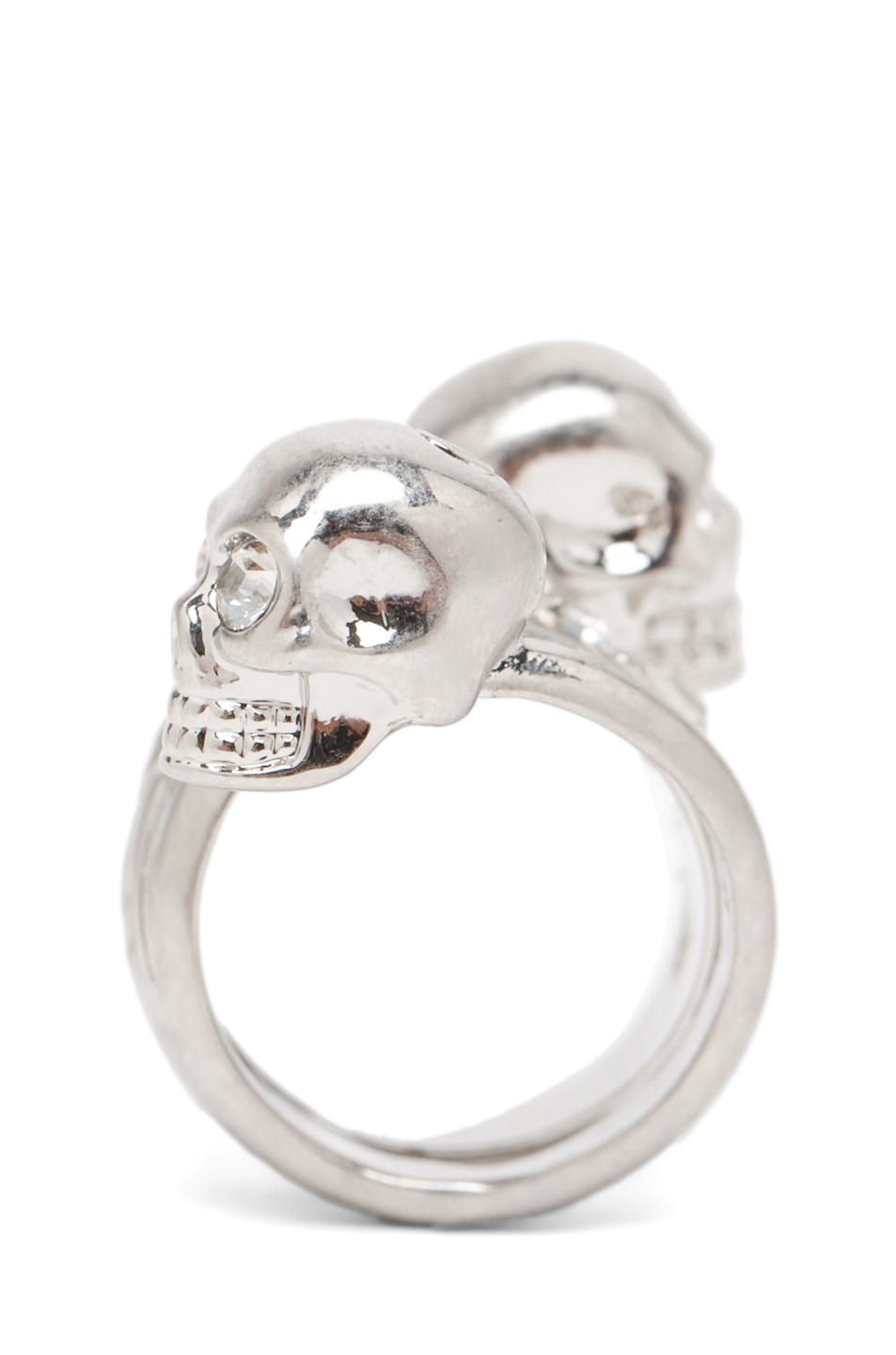 Image 3 of Alexander McQueen Skull Wrapping Twin Ring in Crystal & Silver