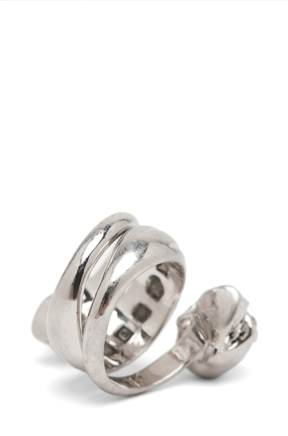 Image 4 of Alexander McQueen Skull Wrapping Twin Ring in Crystal & Silver