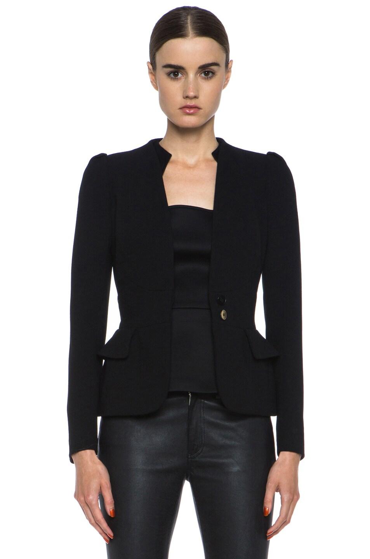 Image 1 of Alexander McQueen Wool Crepe Blazer in Black
