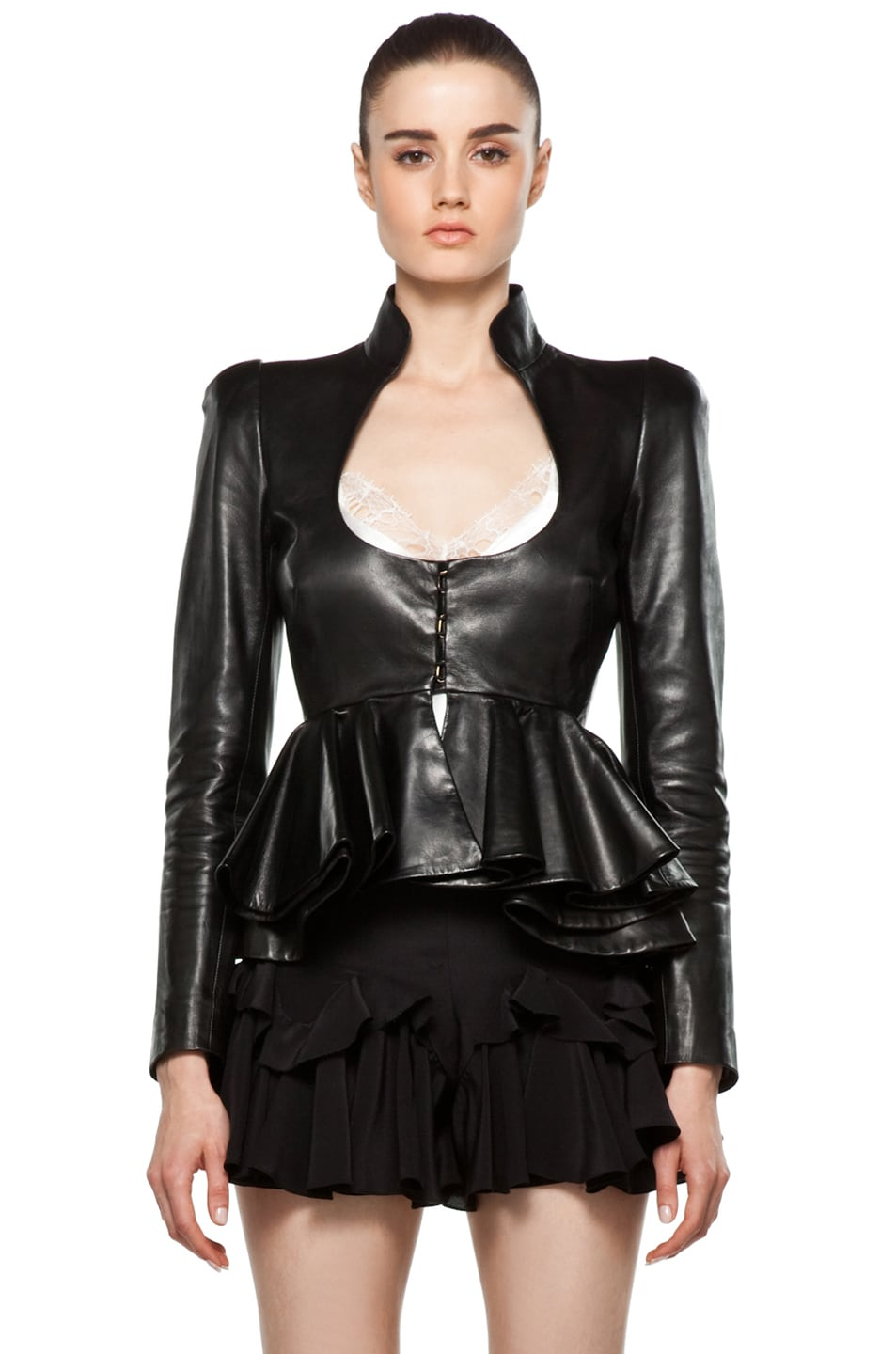 Image 1 of Alexander McQueen Leather Jacket in Black