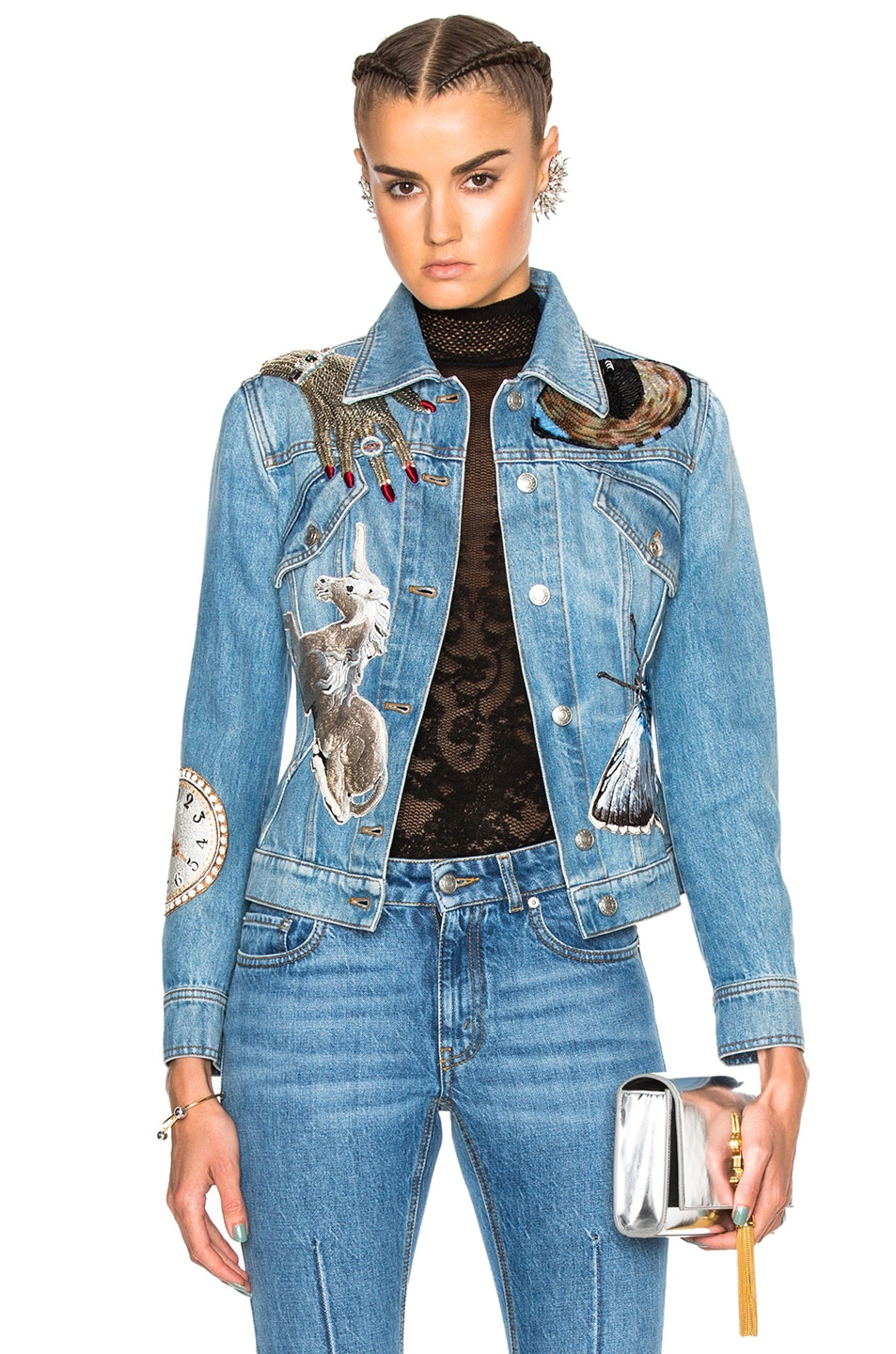 Image 1 of Alexander McQueen Bombe Denim Jacket in Indigo