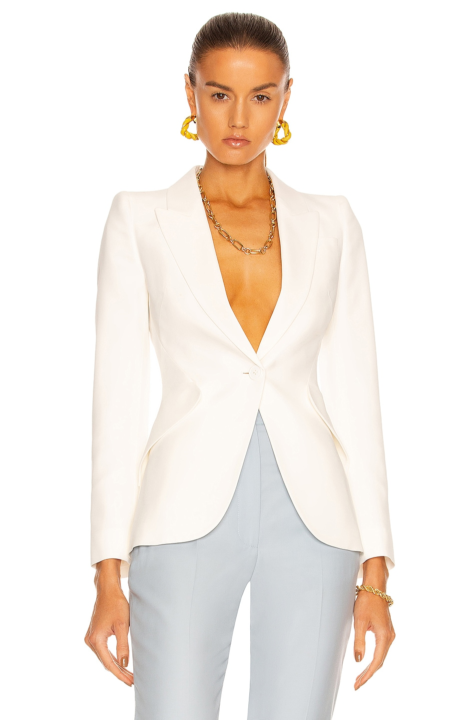 Image 1 of Alexander McQueen One Button Classic Blazer in Ivory