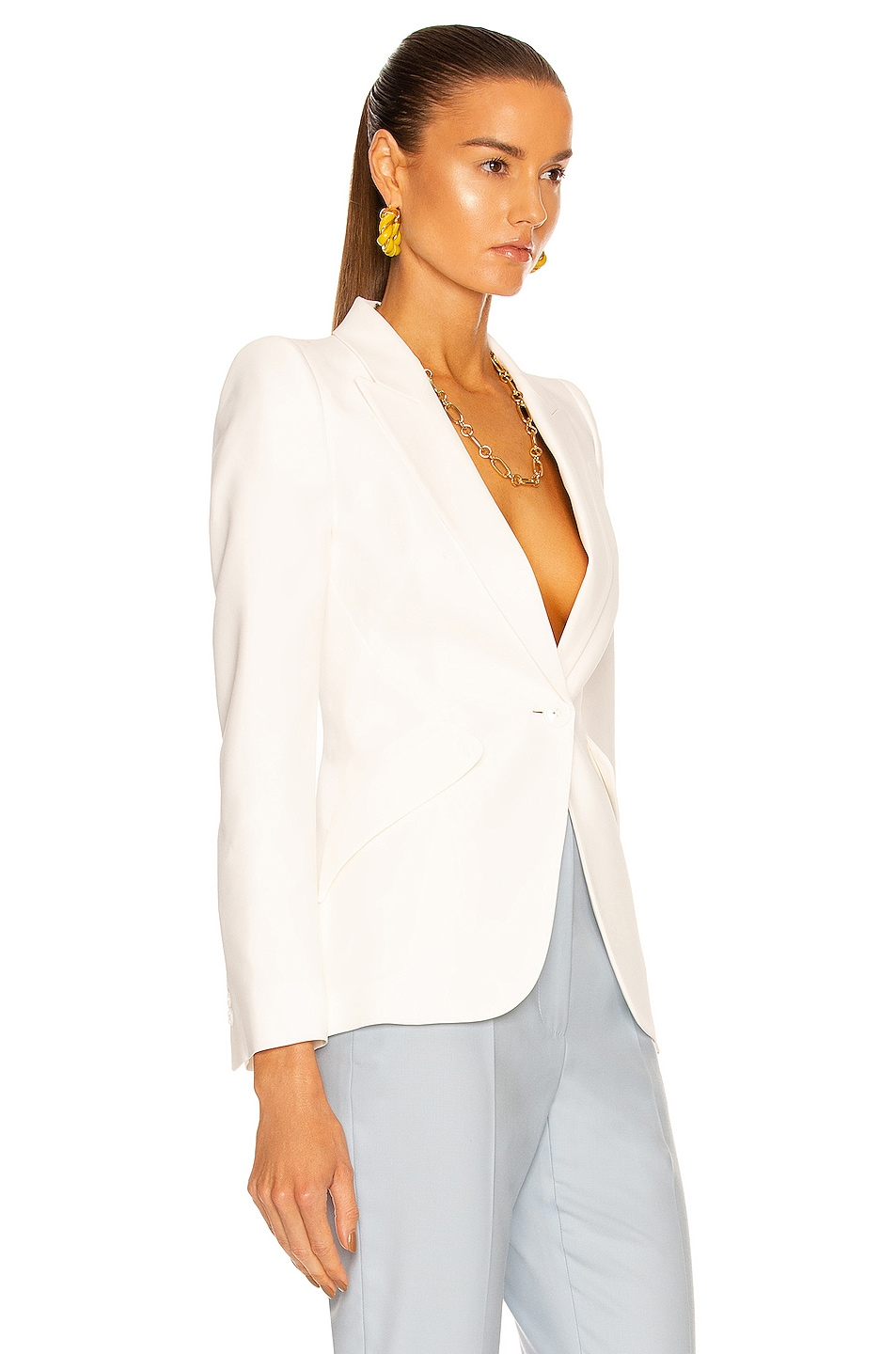 Image 2 of Alexander McQueen One Button Classic Blazer in Ivory
