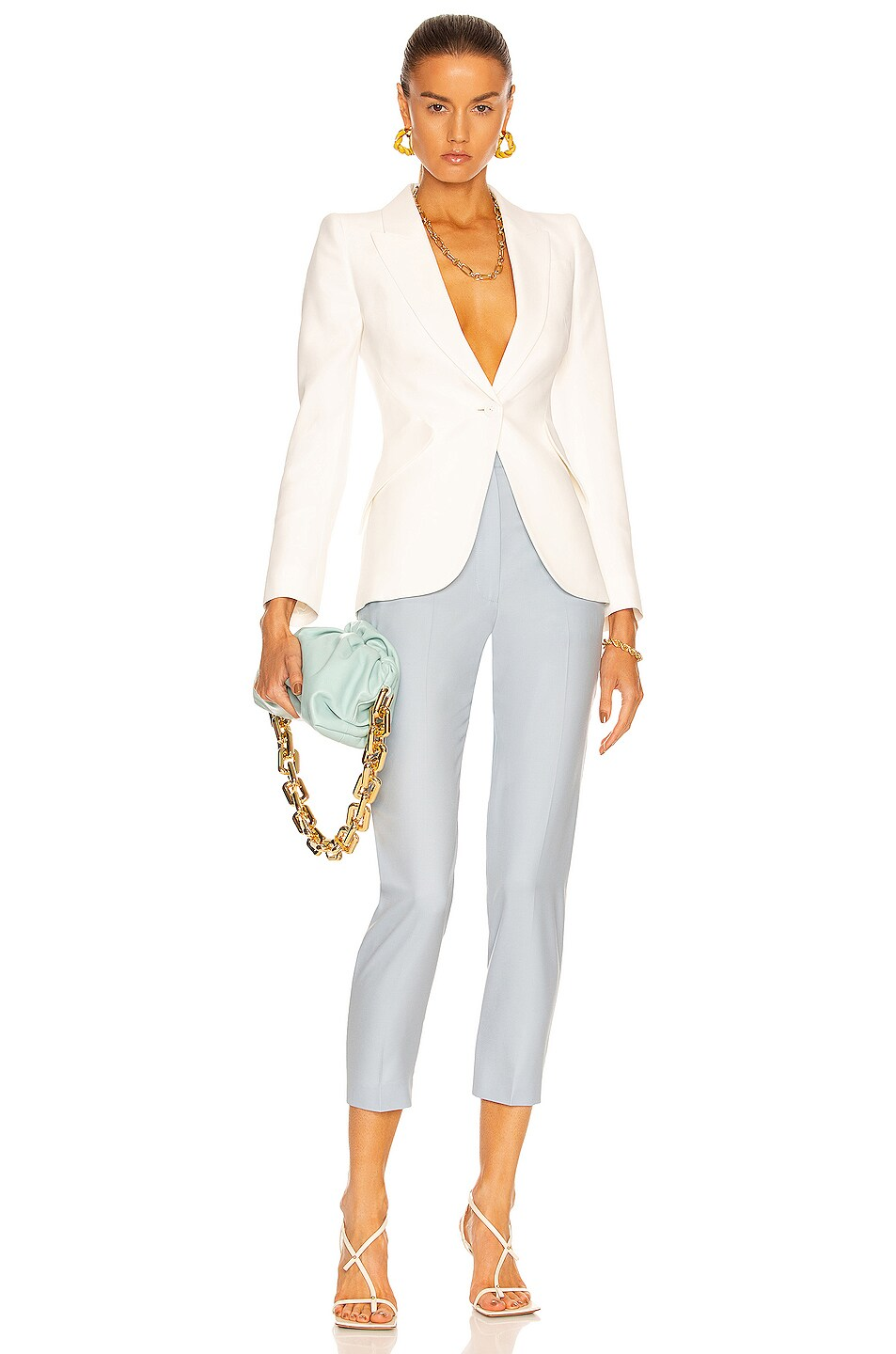Image 4 of Alexander McQueen One Button Classic Blazer in Ivory
