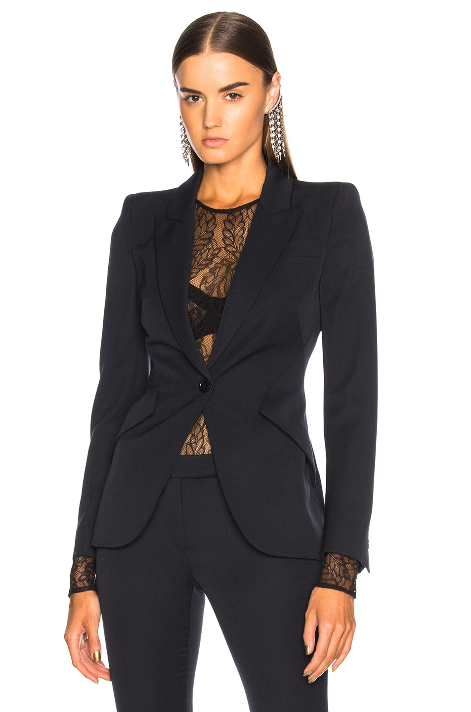 Image 2 of Alexander McQueen One Button Classic Blazer in Midnight Blue
