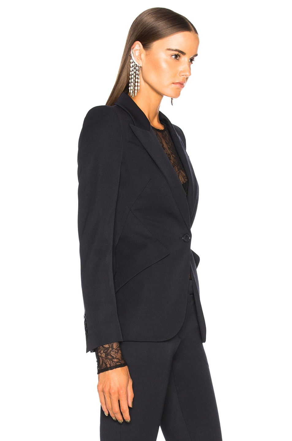 Image 3 of Alexander McQueen One Button Classic Blazer in Midnight Blue