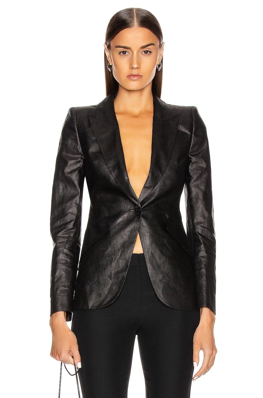 Image 1 of Alexander McQueen One Button Jacket in Black