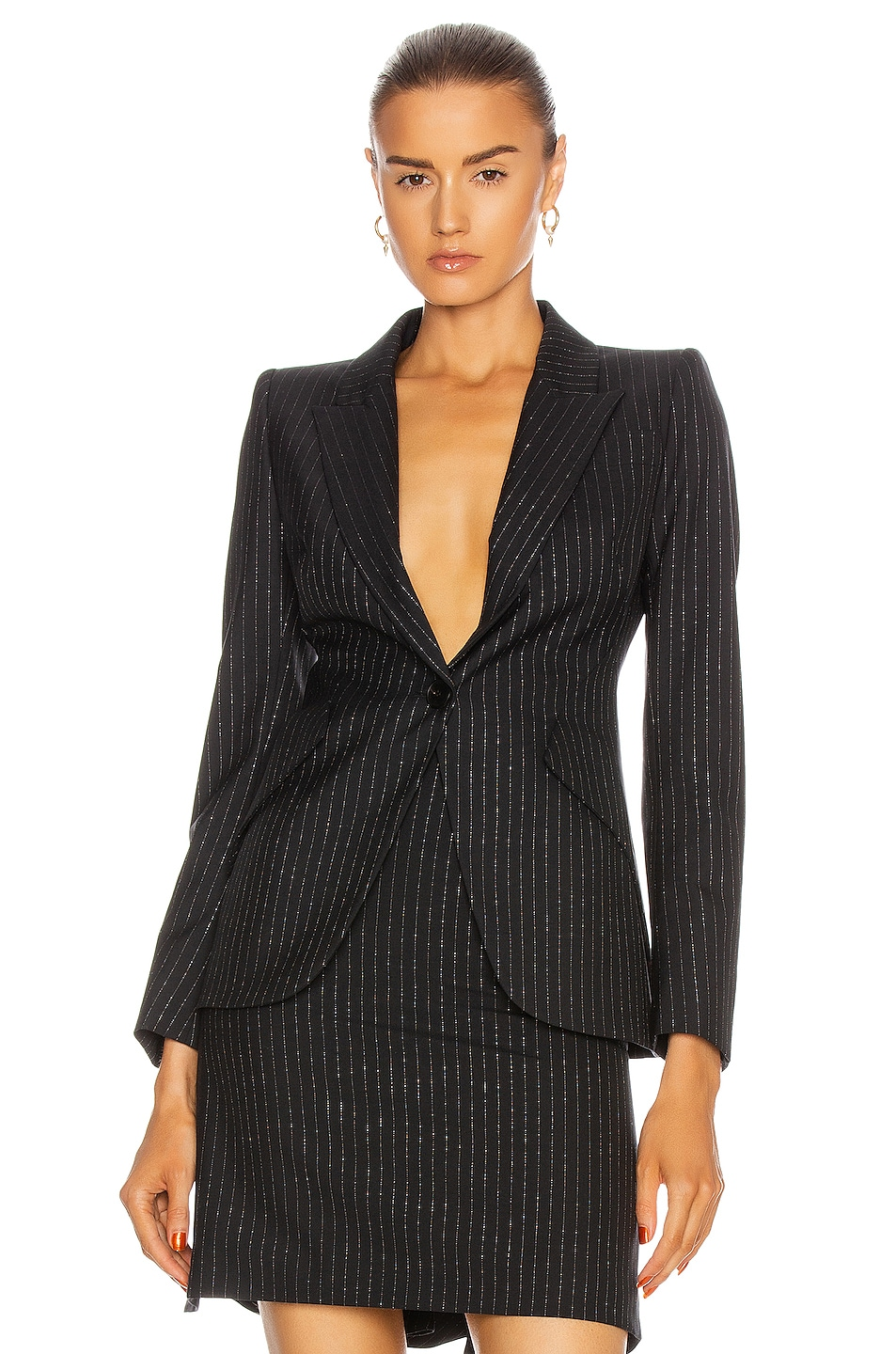 Image 1 of Alexander McQueen Stripe Tailored Jacket in Black & Silver
